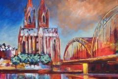 Kölner Dom bunt 100x100 cm