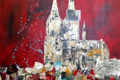 AStädteSkylines_Kölner Dom_Collage_100x100 cm